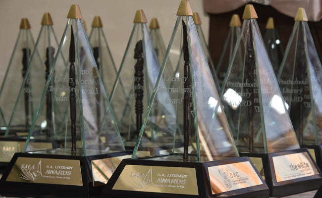 A group of South African Literary Award Trophies
