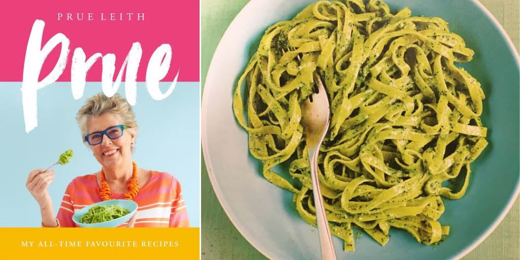 Photo of the book cover for Prue Leith's - My all time favourite recipes, next to a bowl of Pasta el Pesto