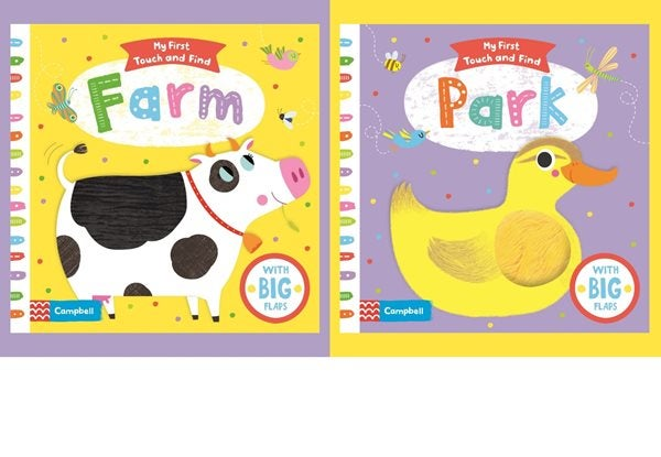 Book Covers for 'Farm' featuring a cow and 'Park' featuring an illustration of a Duck