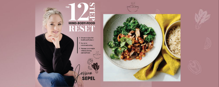 Photo of Jessica Sepel's book '12 step reset' next to a photo of an eggplant and chickpea curry in a bowl