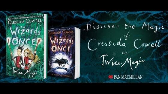 #D cover images of The Wizards of Once and Wizards of Once Twice Magic with accompanying text: Discover the magic of Cressida Cowell in Twice Magic