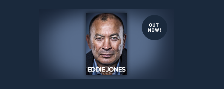 Eddie Jones Book My Life and Rigby superimposed on a dark purple background