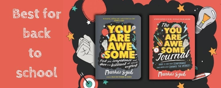Book covers of You are Awesome the book and the diary next to back to school text.