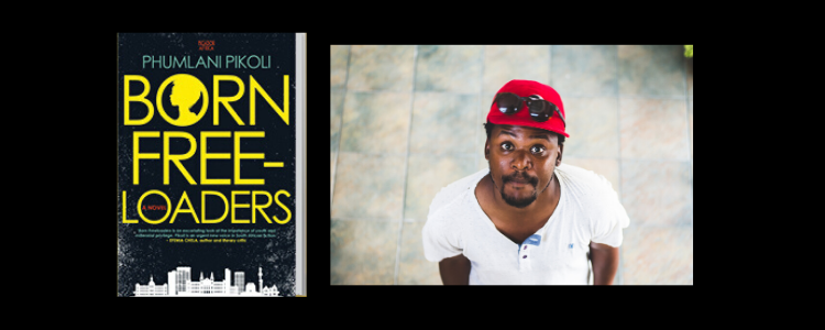 Picture of the book Born Free-Loaders alongside a photo of Phumlani Pikoli wearing a red baseball cap with sunglasses on it