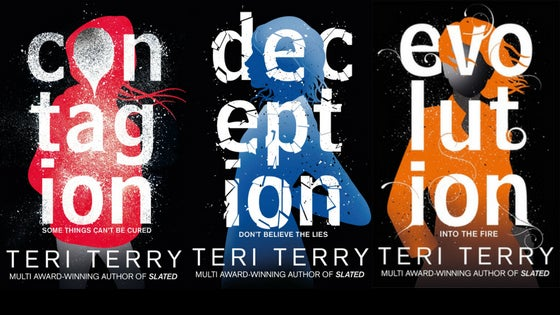 Side by side Jacket covers for Teri Terry's books: Contagion, deception and evolution