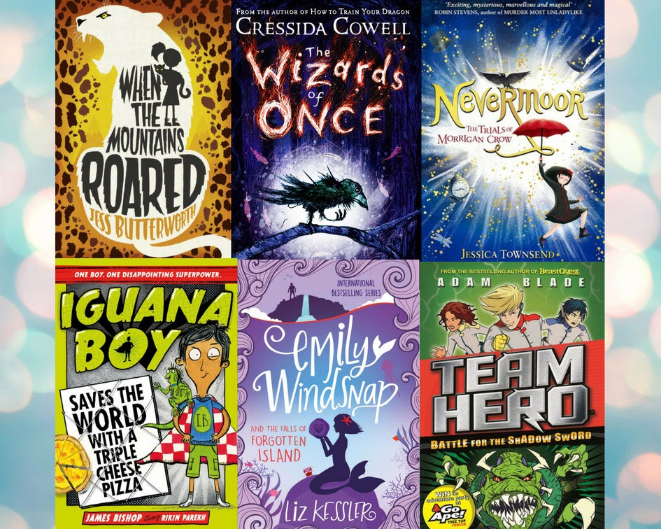 A collage of the following jacket covers: When the mountains roared, The wizards of once, Nevermoor, Iguana Boy, Emily Windsnap and Team Hero