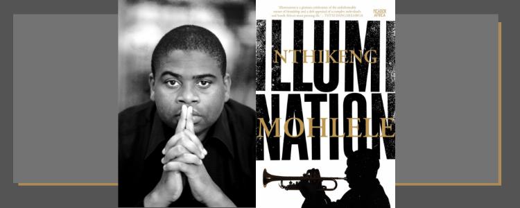 Photo of Nthikeng Mohlele alongside his book cover 'Illumination'