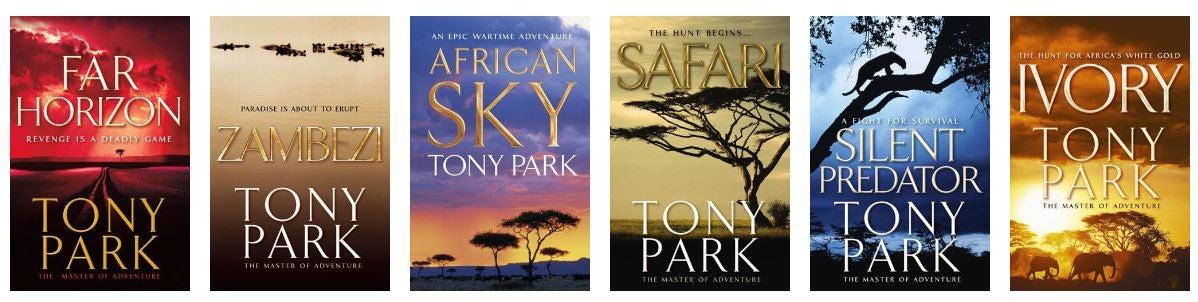 Six of Tony Park's Published novels covers: Far Horizon, Zambezi, African Sky, Safari, Silent Predator and Ivory.