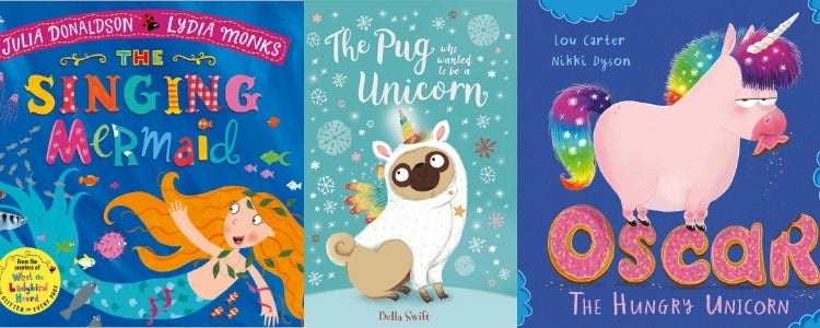A photo of three book covers: The Singing Mermaid, The Pug who wanted to be a Unicorn and Oscar