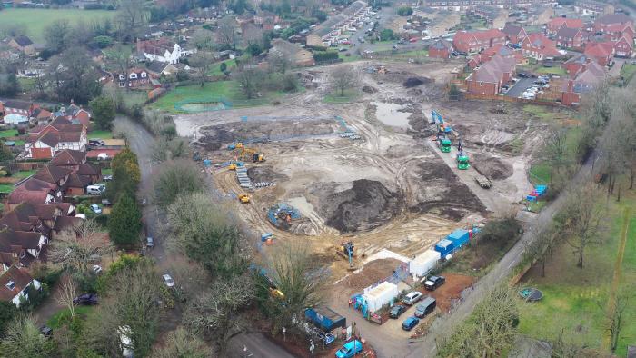 Bird's eye view of development area in Ash