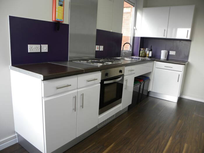 Shared kitchen area with white cabinets and a purple backsplash