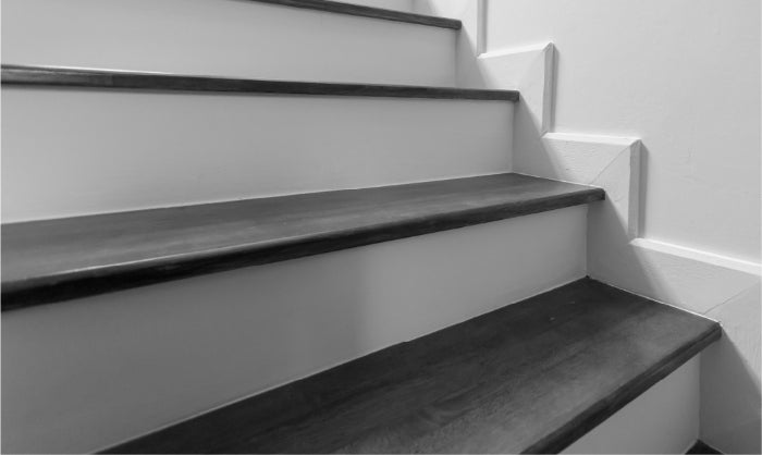 Black and white image of a staircase