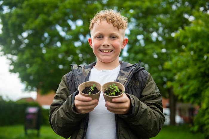 A mini ambassador holding two plant pots with sprouts in them