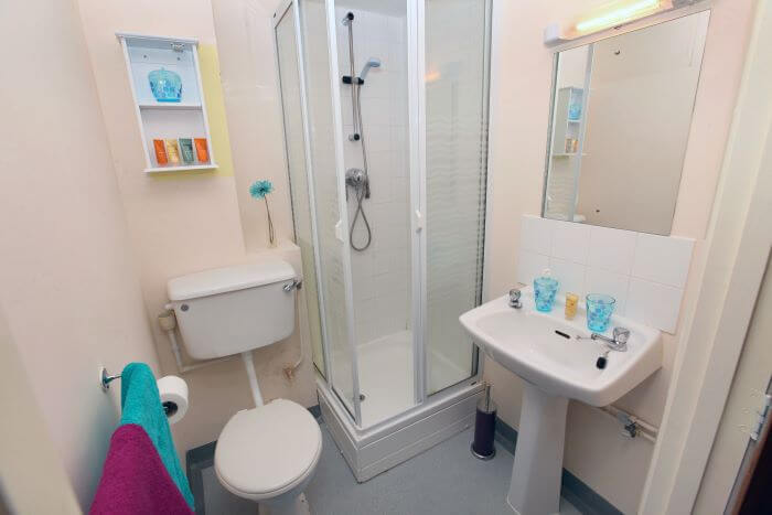 A bathroom with toilet, shower and sink