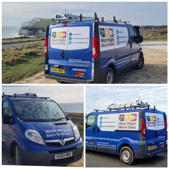 A picture showing the West Wight Men in Sheds van from three different angles parked along the coastline