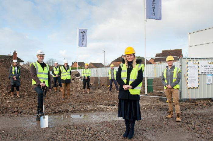 A picture of the team at the Thatcham affordable housing development building site