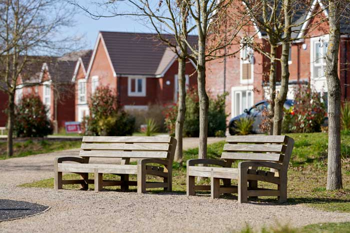 Two park benches in Tadpole Farm