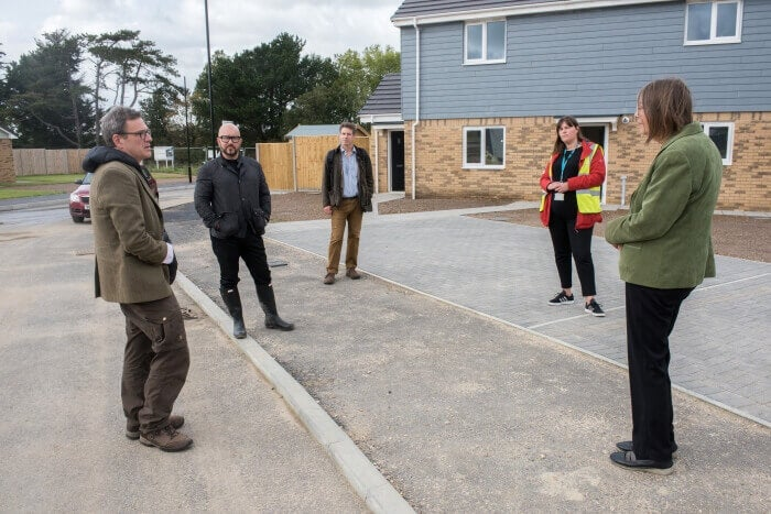 MP Bob Seely visiting the Shalfleet development on the Isle of Wight