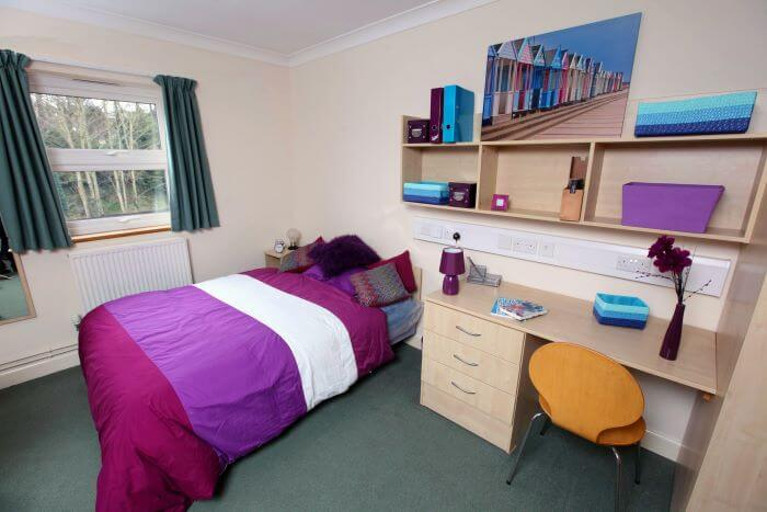 Bedroom with desk area and shelving