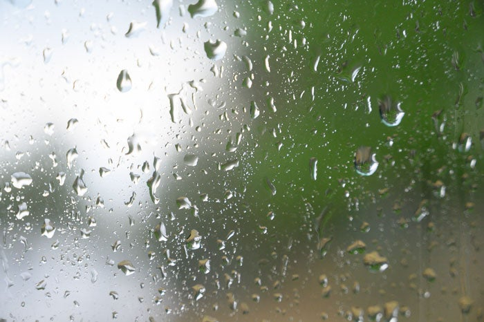Close up image of raindrops on a window
