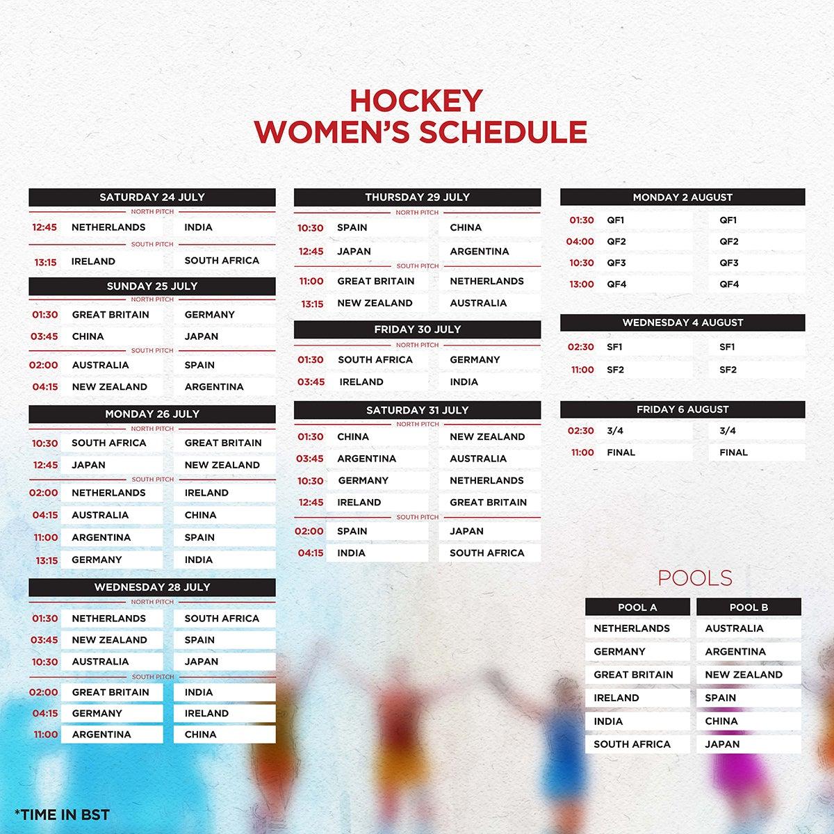 Tokyo 2020 Women's Hockey Schedule