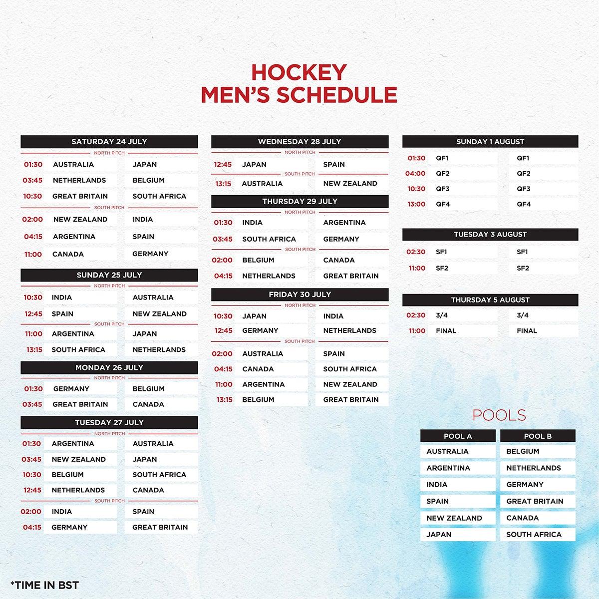 Tokyo 2020 Men's Hockey Schedule
