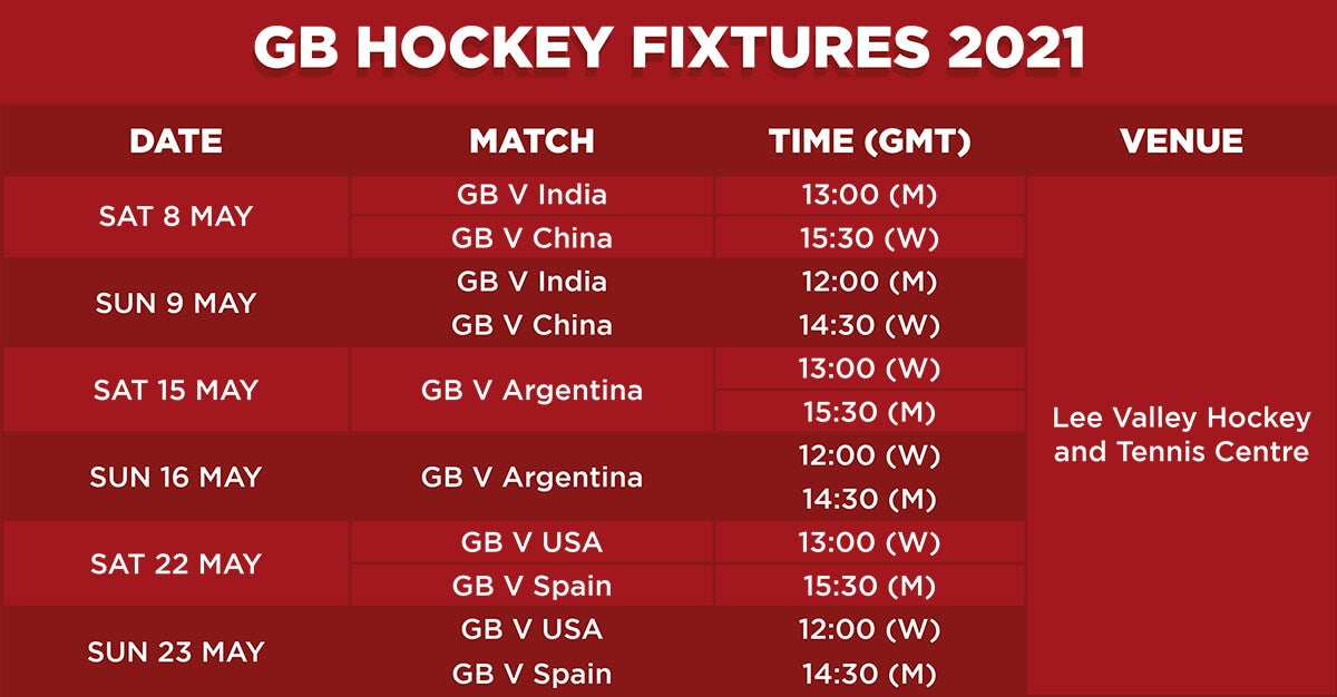 GB Hockey 2021 Fixture Table