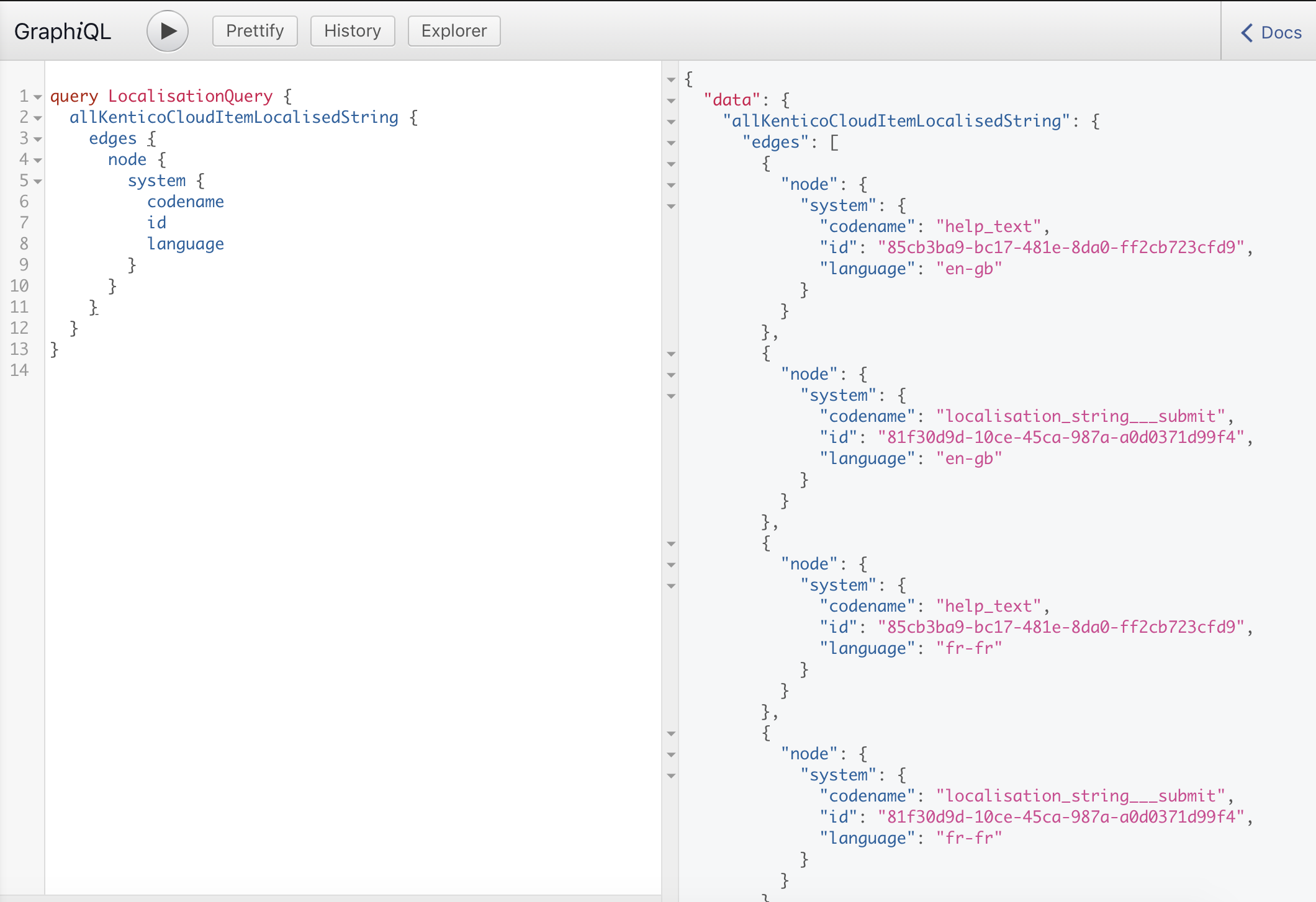 A view of the GraphiQL preview of retrieving language nodes