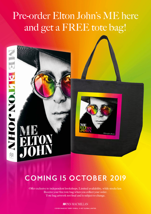 Pre-order Elton John's ME here and get a free tote bag! Photo of Elton John's book ME and tote bag featuring the book cover
