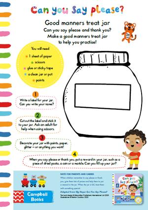 Make a good manners treat jar activity sheet
