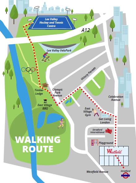 Lee Valley Hockey and Tennis centre Walking route map from Westfield