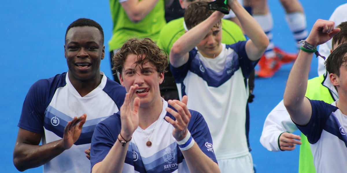 Boys clapping at the England Hockey Boys Schools Championship Finals