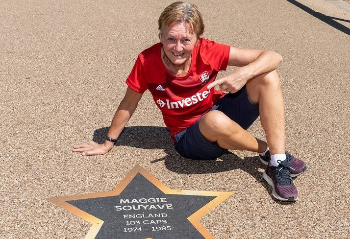 Maggie Souyave with her star at the Hockey World Cup London