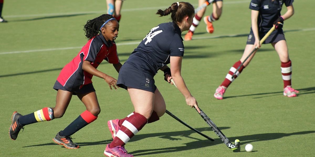 Girls playing hockey at the Girls Schools Championships 2020
