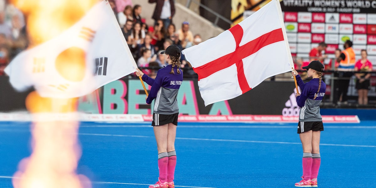 England Flag and Fire at Womens Hockey World Cup