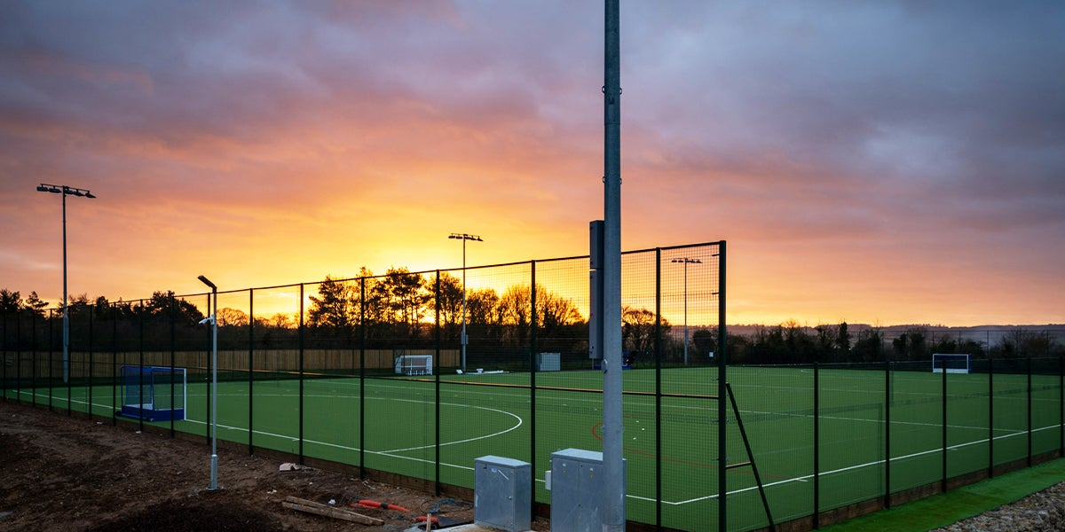 Blueharts Hockey Club Pitch during a sunset