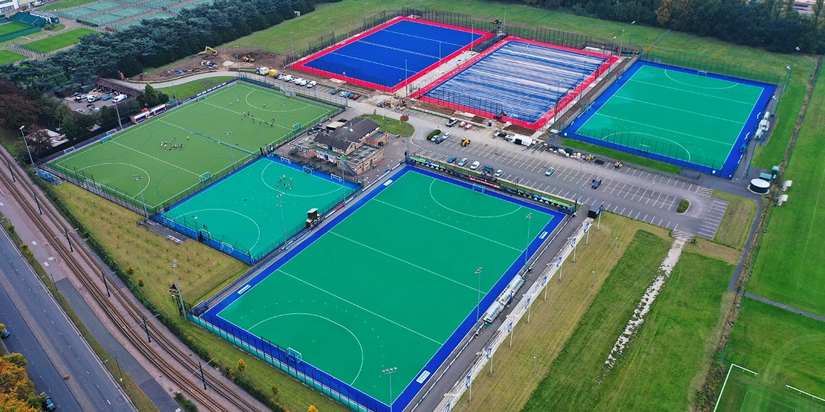 Nottingham Hockey Centre pitches, green and blue.