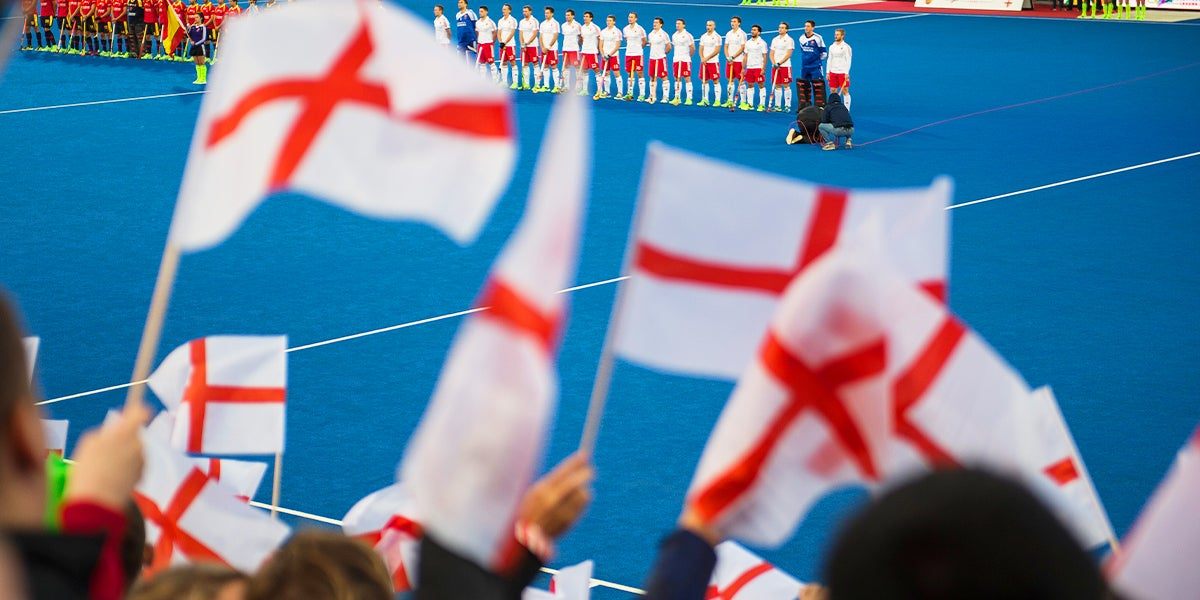 England Flags waving at a Hockey Event
