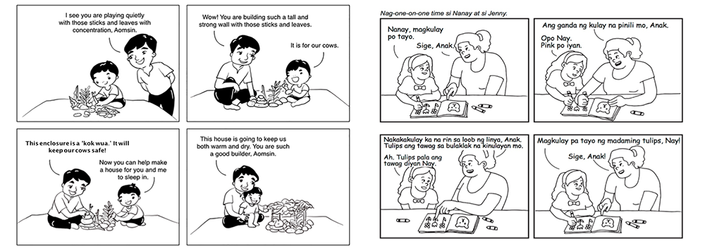 Examples of the learning materials from the Parent Handbook.