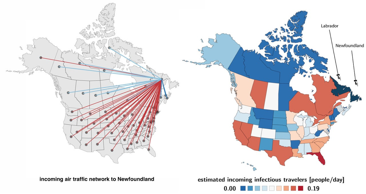 Incoming air traffic network to Newfoundland.
